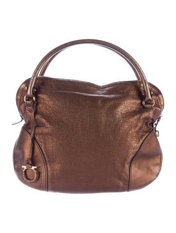Salvatore Ferragamo Metallic Leather Handle Bag None