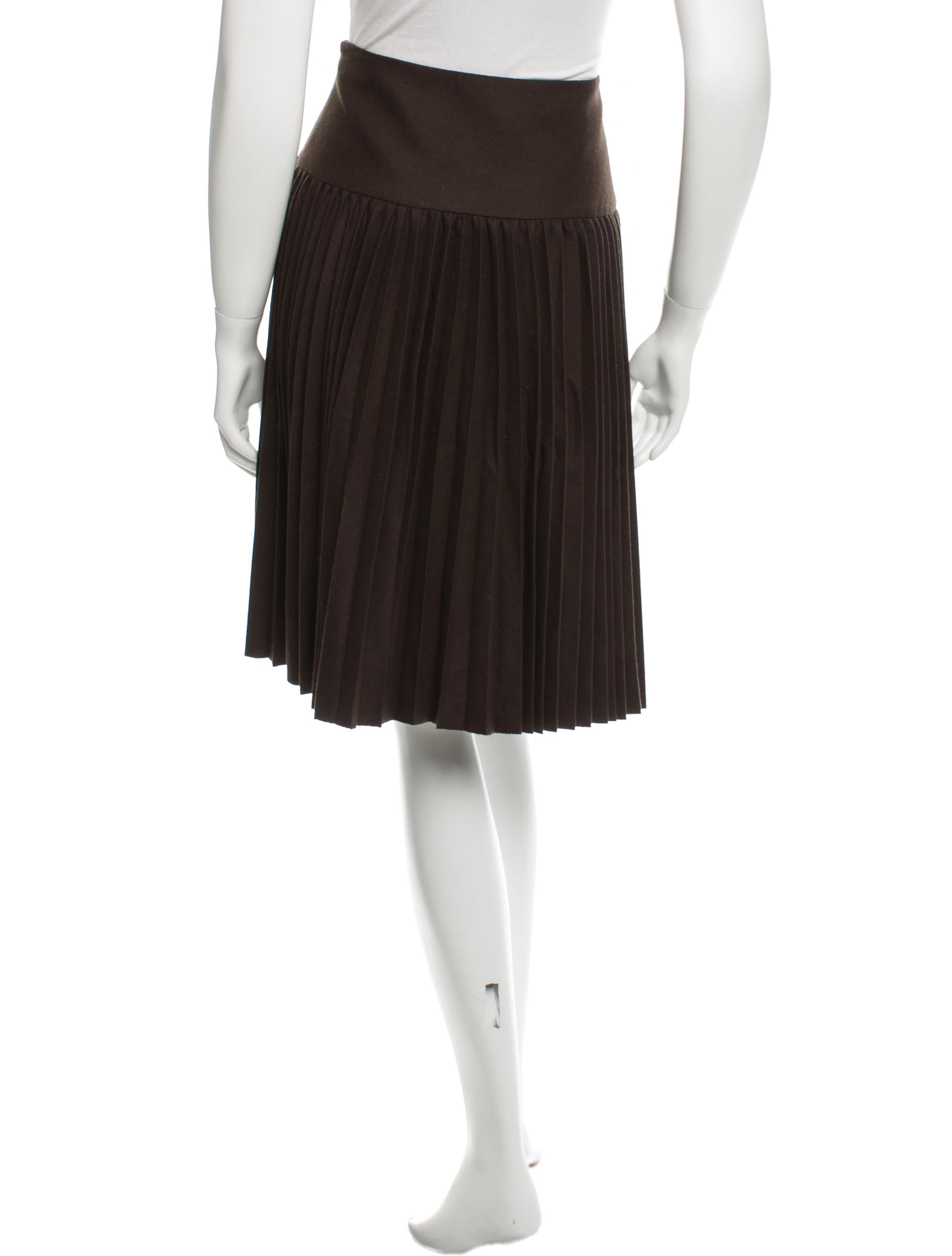 salvatore ferragamo wool pleated skirt clothing
