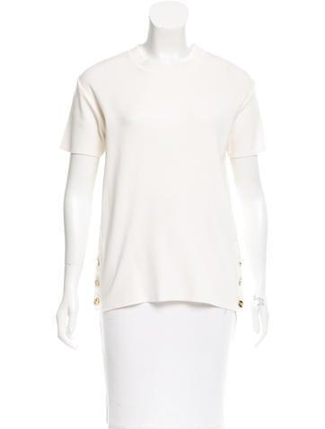 Salvatore Ferragamo Button-Accented Short Sleeve Top None