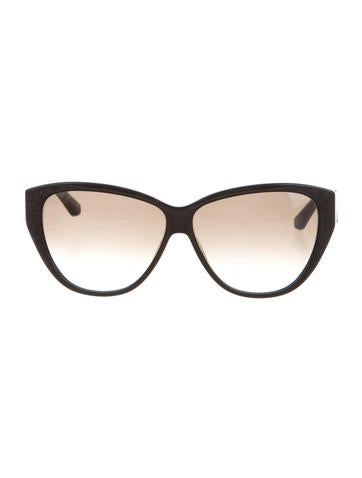 Salvatore Ferragamo Snakeskin-Trimmed Cat-Eye Sunglasses