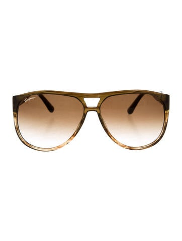 Salvatore Ferragamo Translucent Aviator Sunglasses...