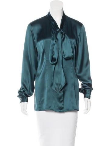 Salvatore Ferragamo Silk Button-Up Top None