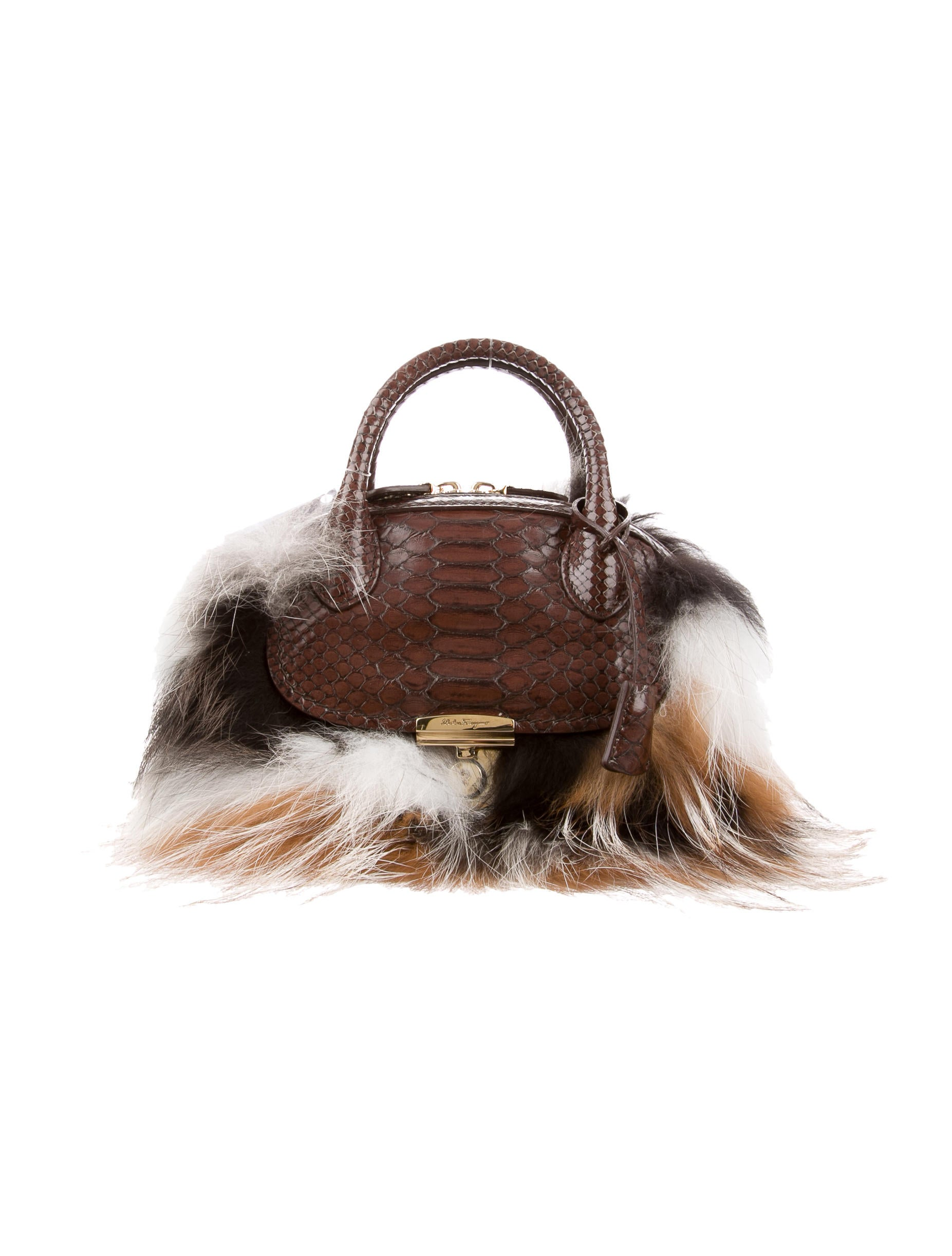 76afbfb89706 Salvatore Ferragamo Python   Fur Mini Fiamma Bag - Handbags ...