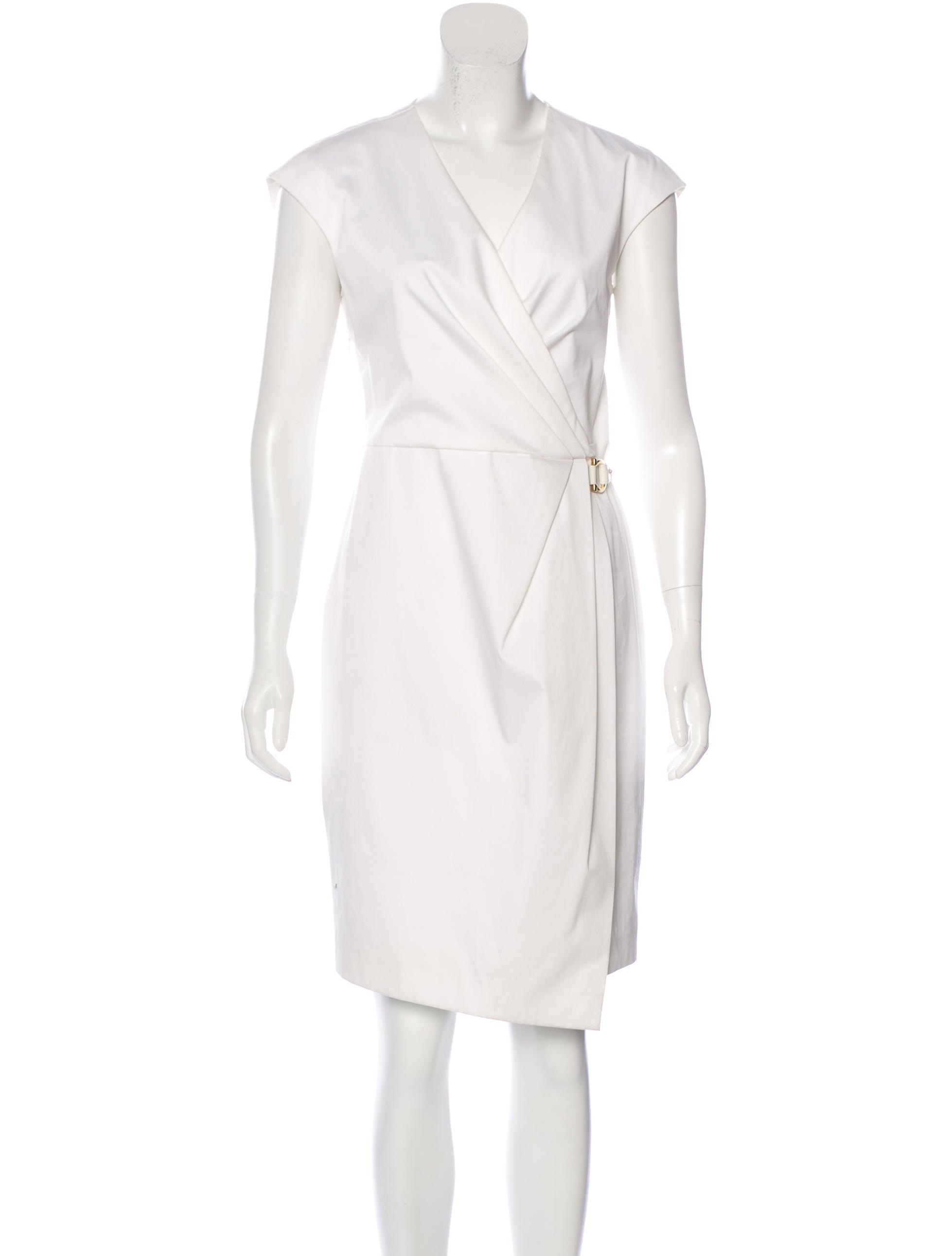 Salvatore Ferragamo Sleeveless Pleat-Accented Dress ...