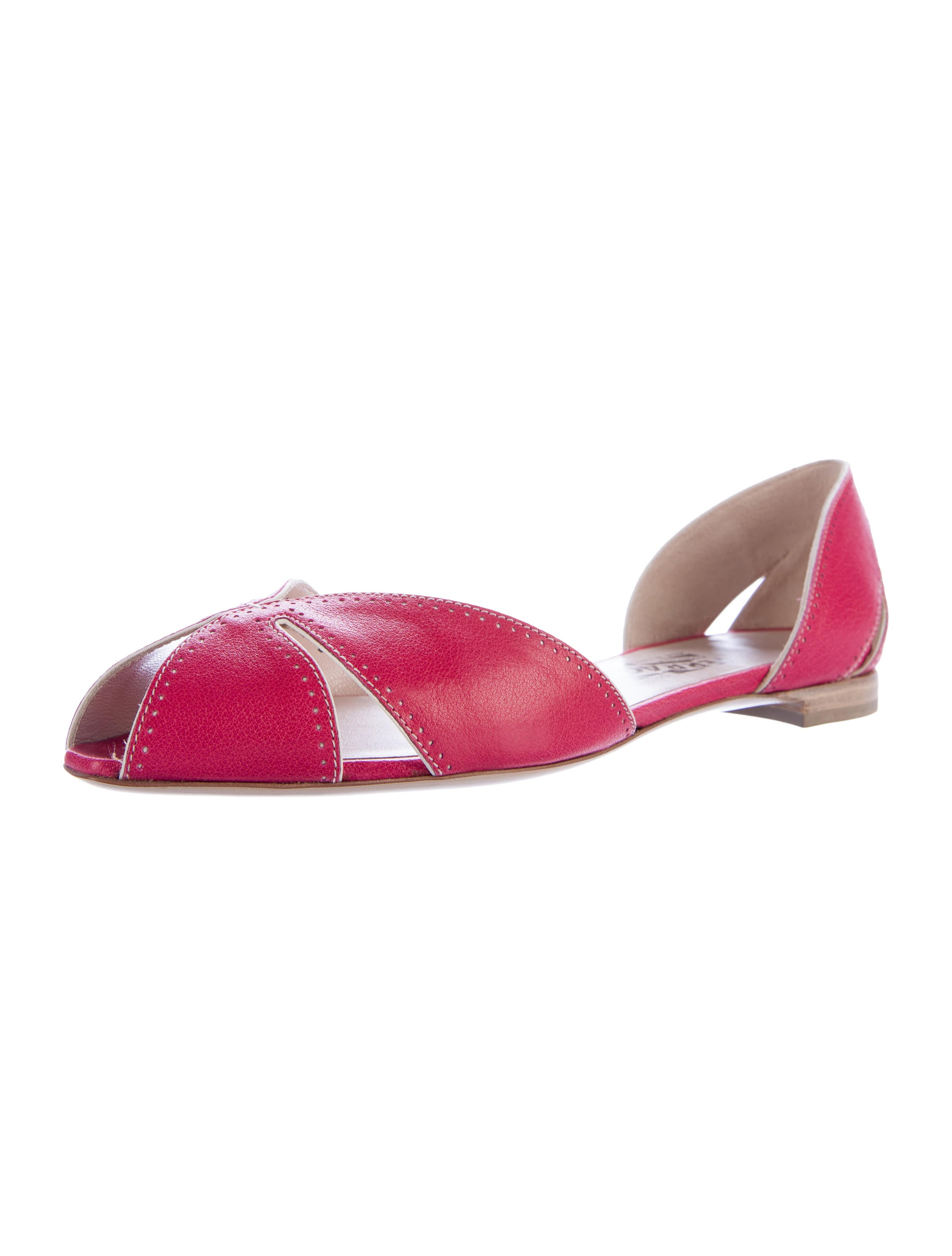 Salvatore Ferragamo Mammola Peep-Toe Flats w\/ Tags - Shoes ...