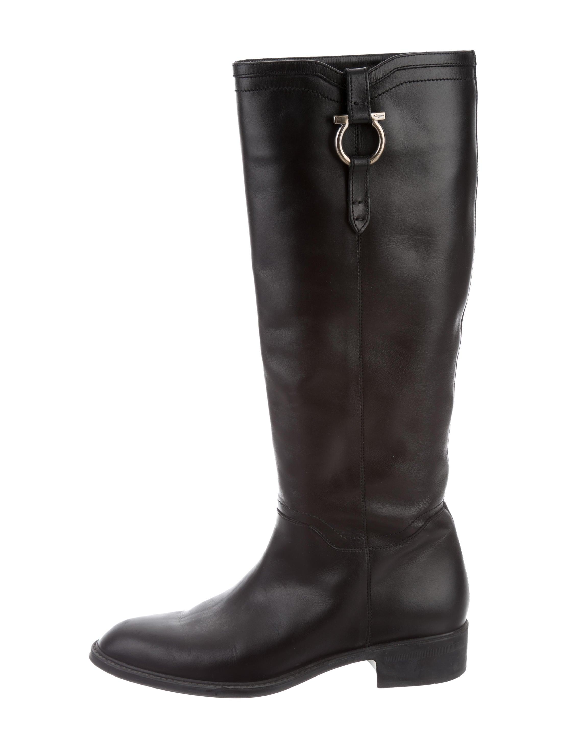 Salvatore Ferragamo Gancini Embellished Leather Boots