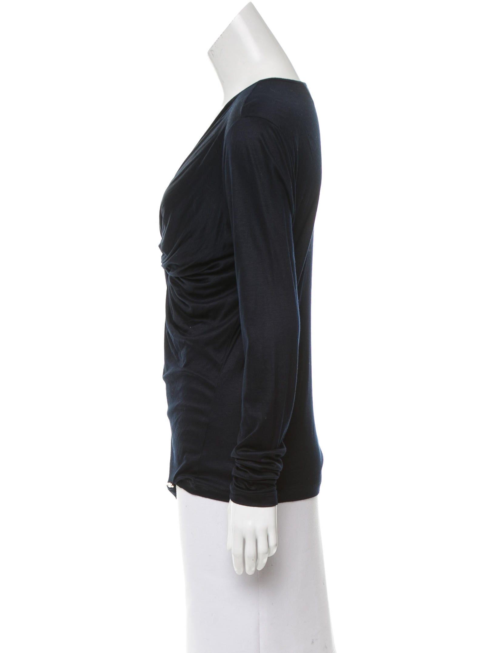 Salvatore Ferragamo Gathered Long Sleeve Top - Clothing ...