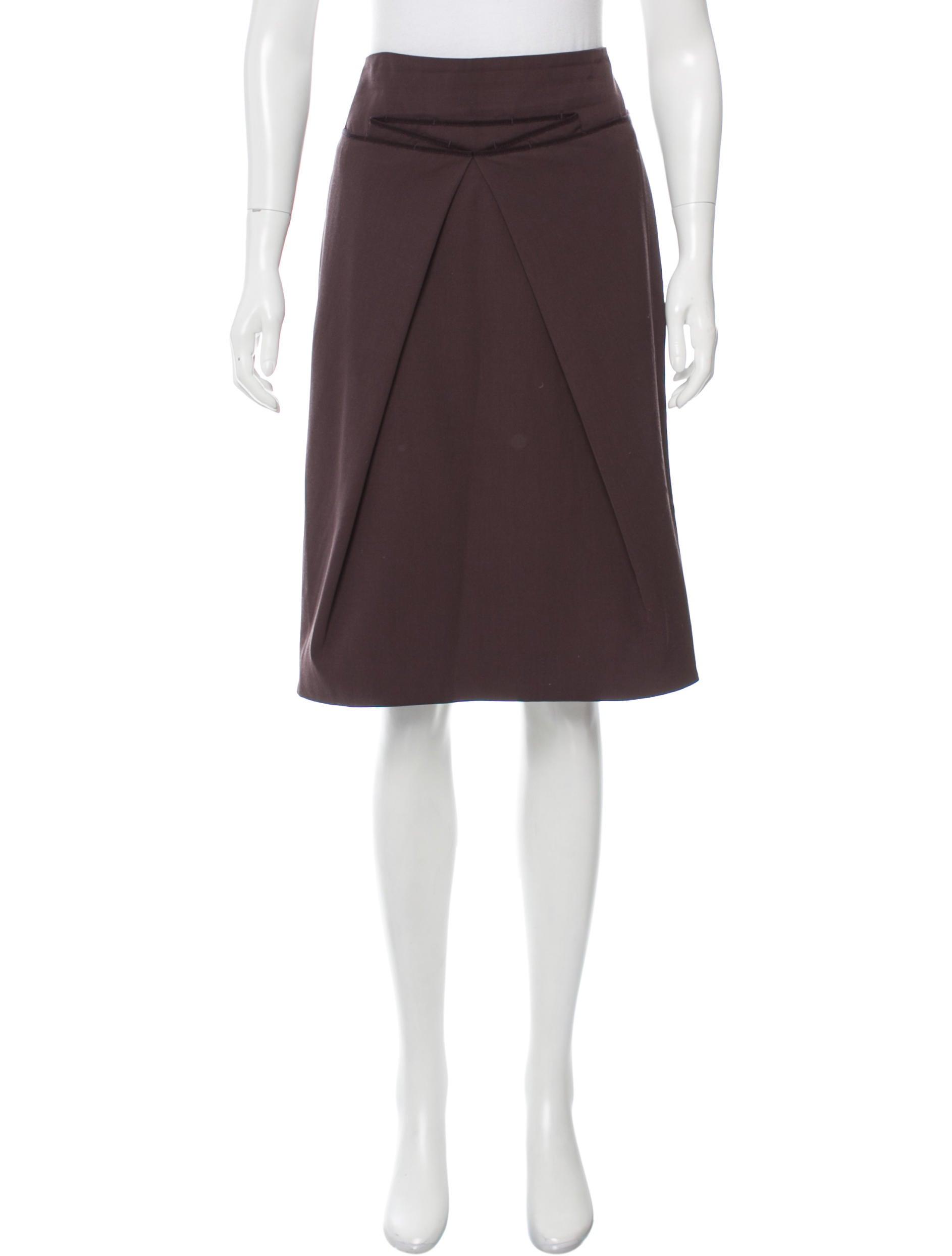 salvatore ferragamo wool knee length skirt clothing
