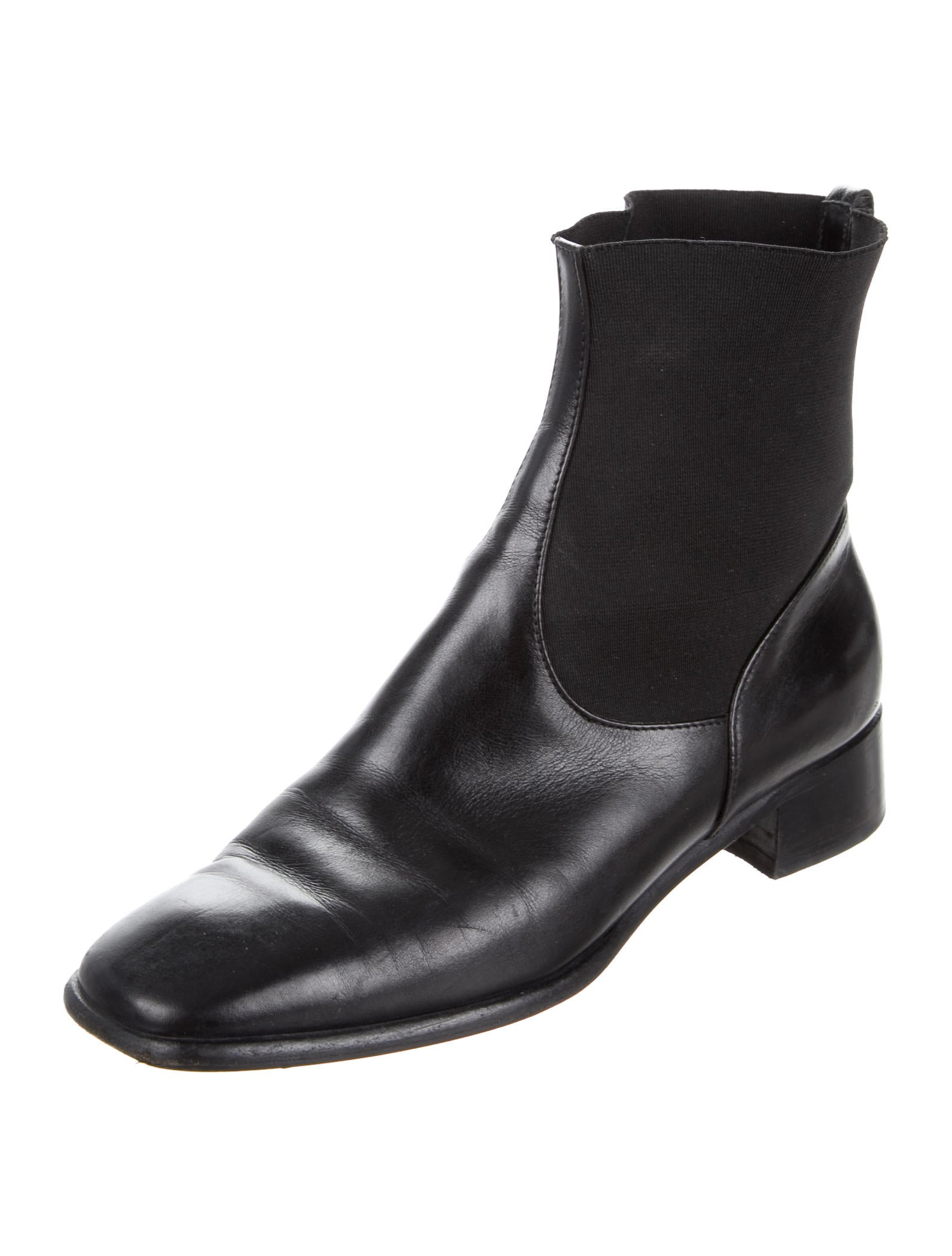 salvatore ferragamo leather square toe ankle boots shoes