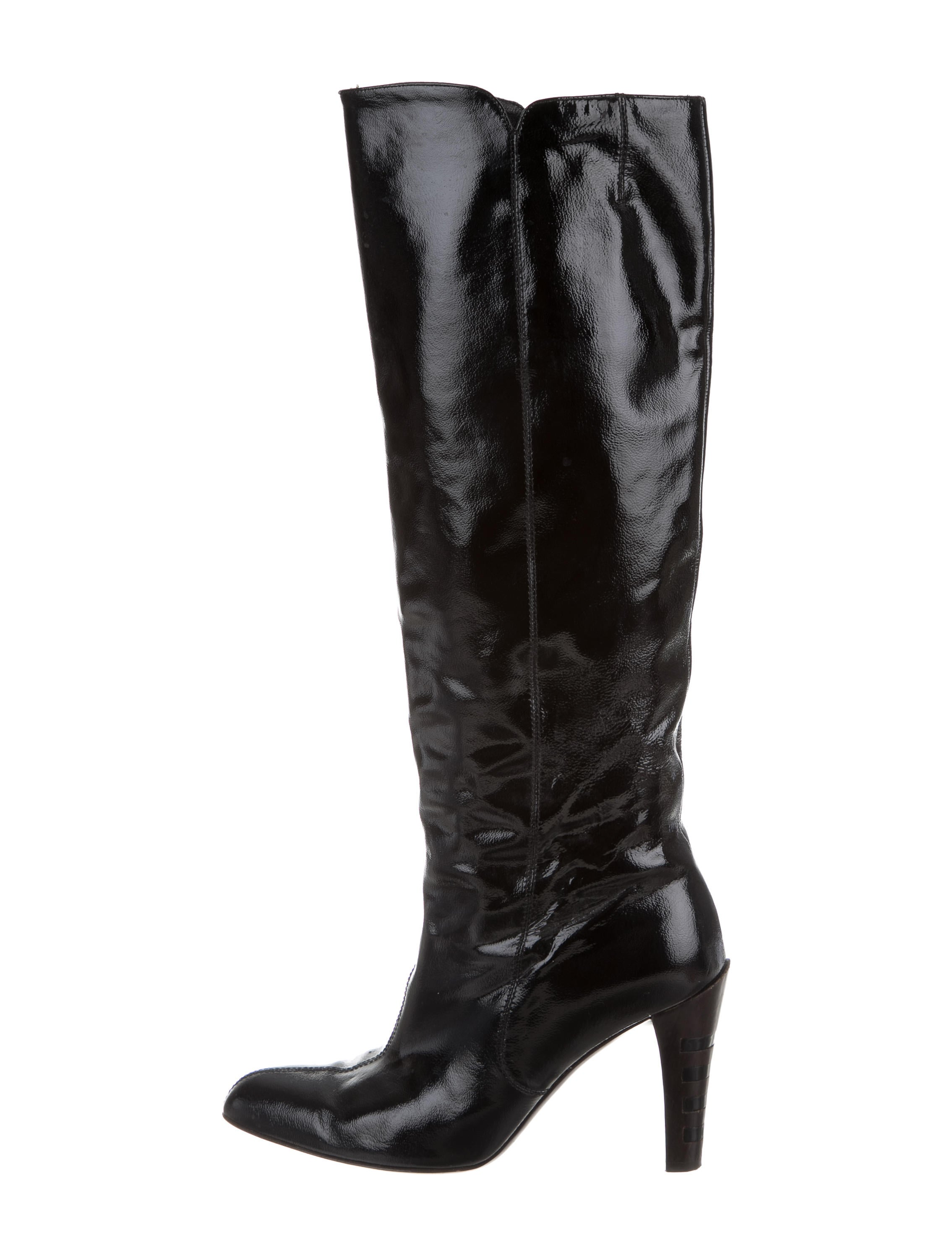 salvatore ferragamo patent leather knee high boots shoes