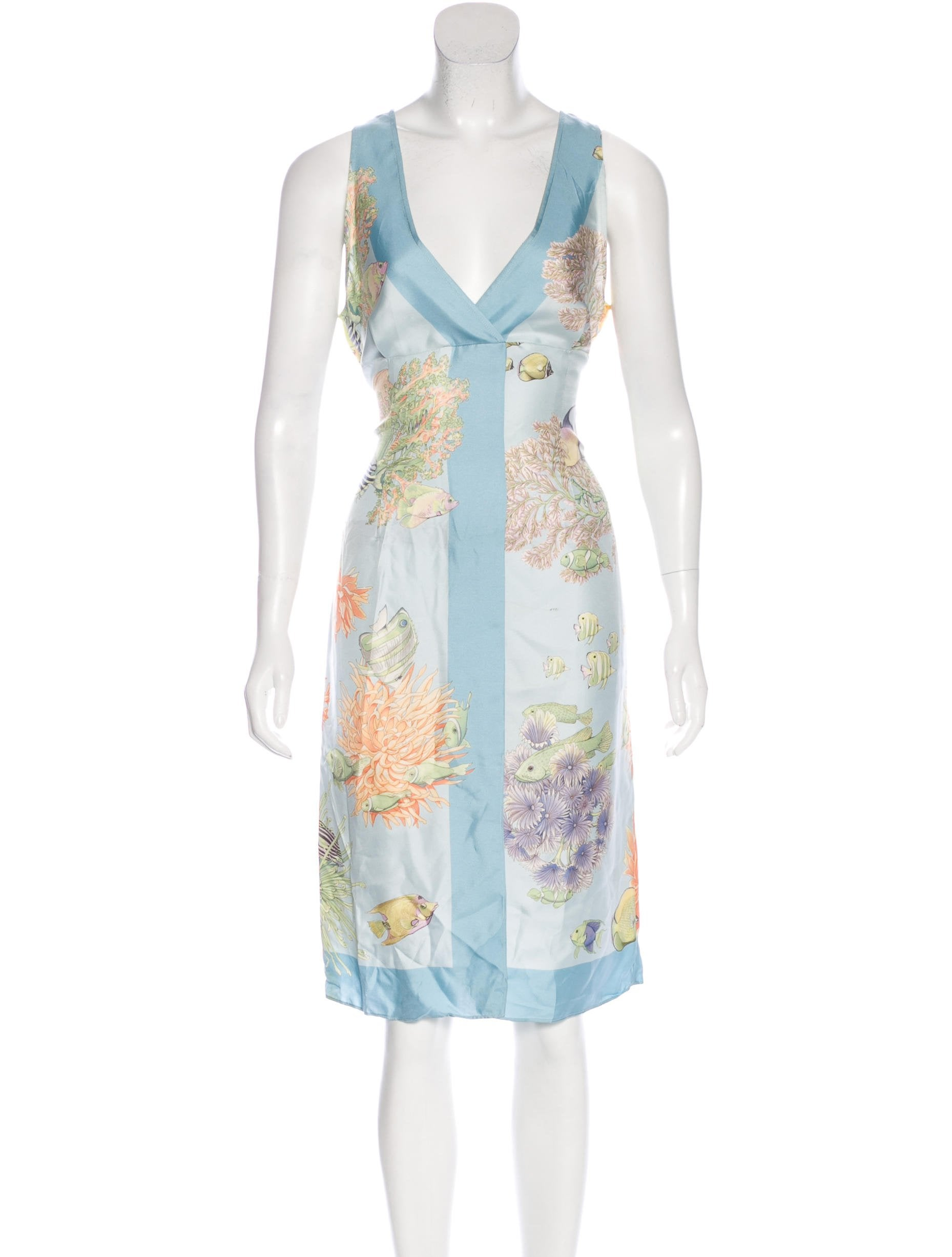 Salvatore Ferragamo Silk Ocean Print Dress - Clothing ...