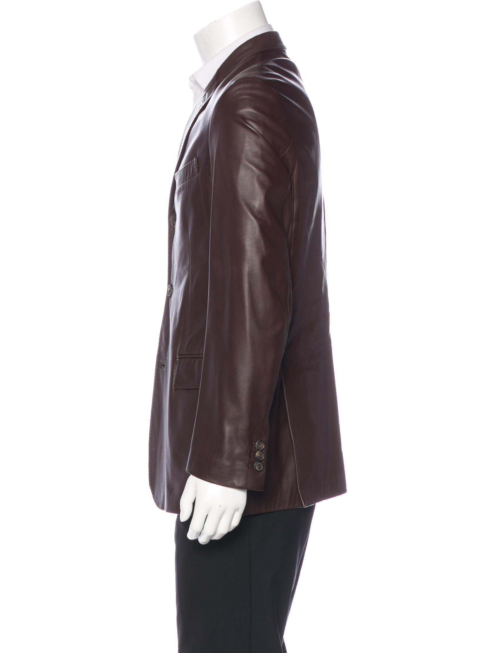 Salvatore Ferragamo Leather Sport Coat - Clothing ...