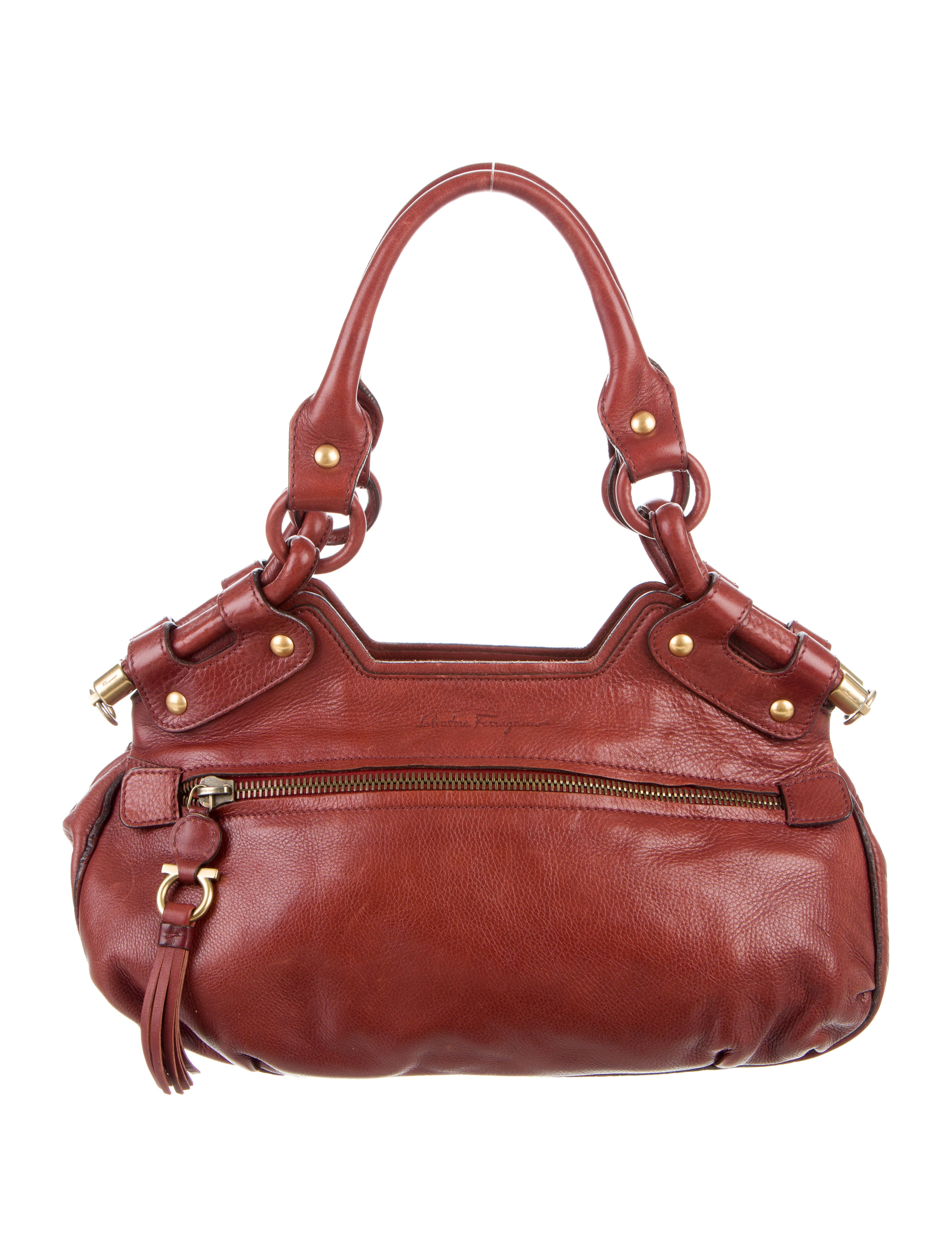 Contemporary Flatware Salvatore Ferragamo Leather Shoulder Bag Handbags