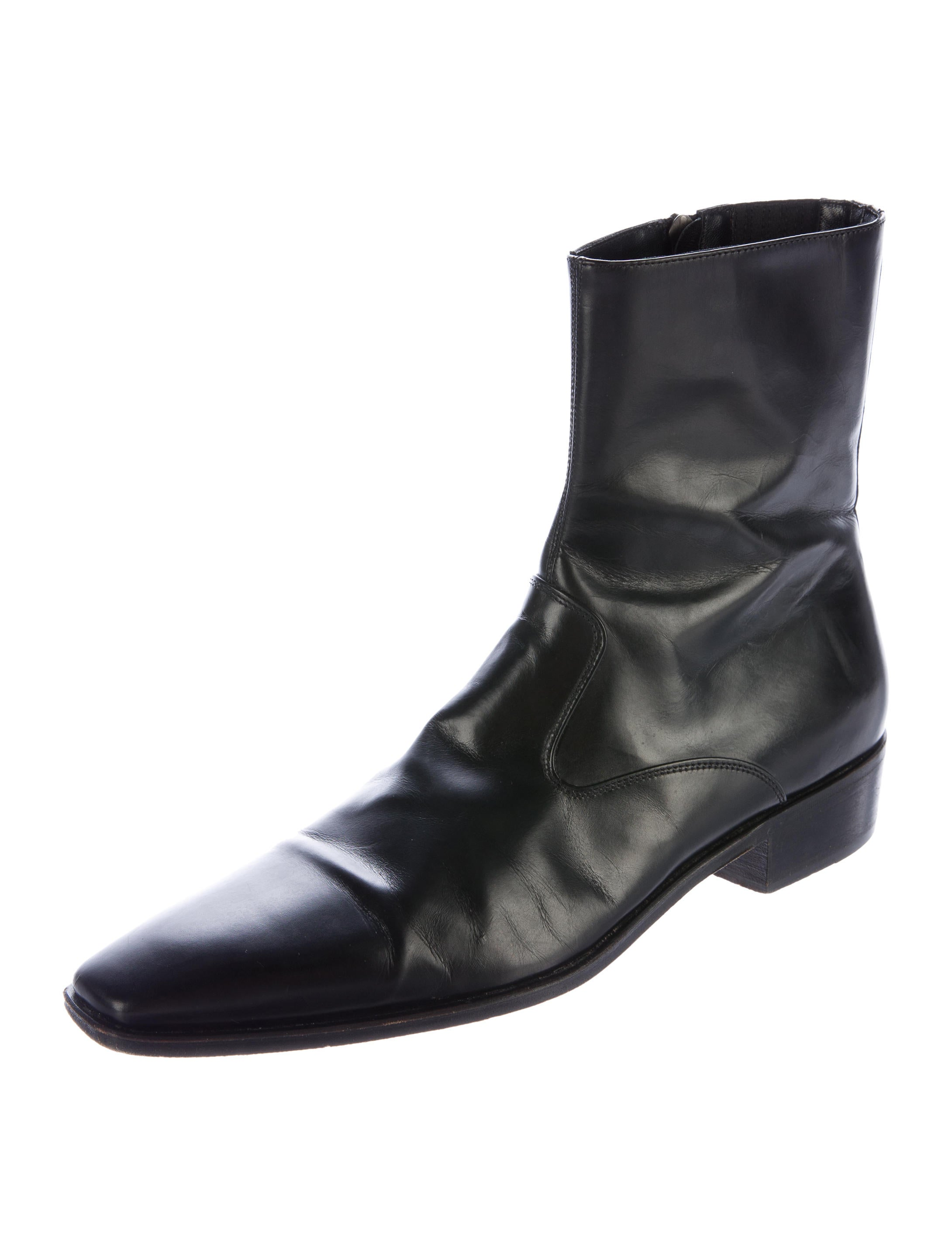 salvatore ferragamo leather pointed toe boots shoes