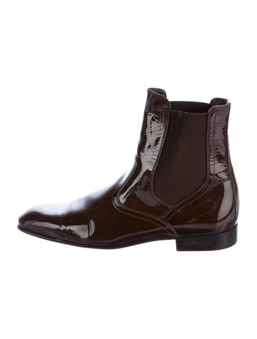 salvatore ferragamo patent leather chelsea boots shoes