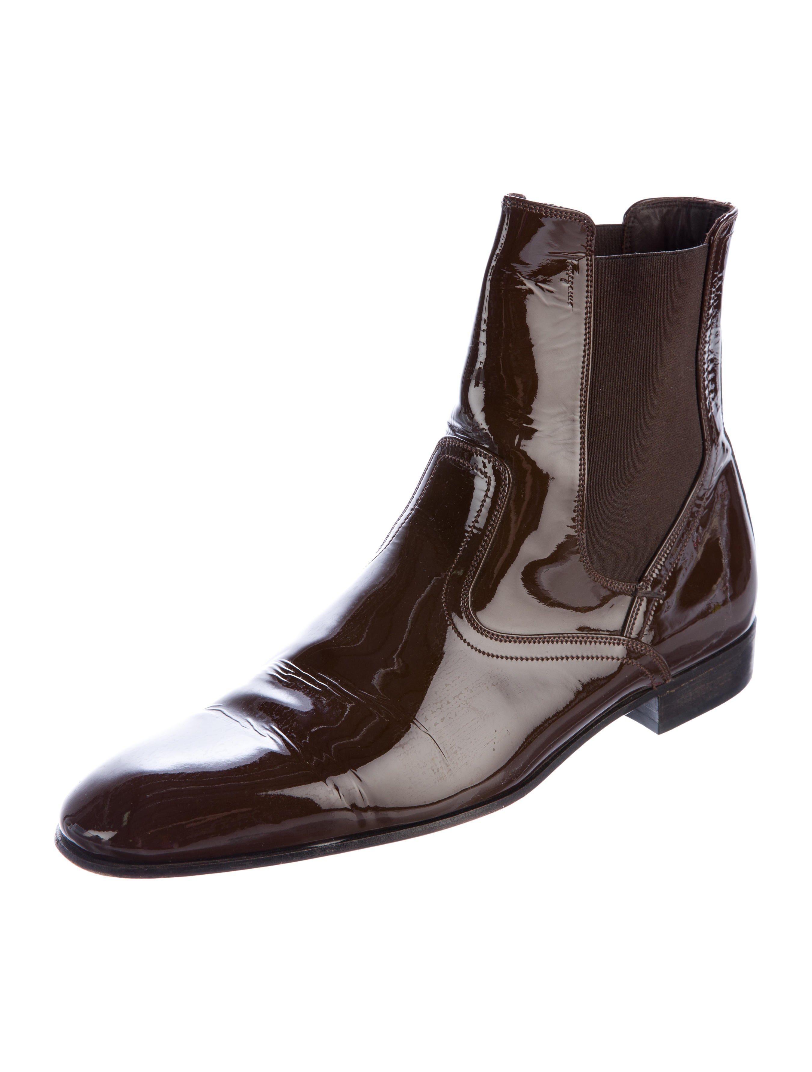 salvatore ferragamo patent leather chelsea boots shoes
