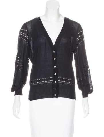 Salvatore Ferragamo Lace-Accented Knit Cardigan None