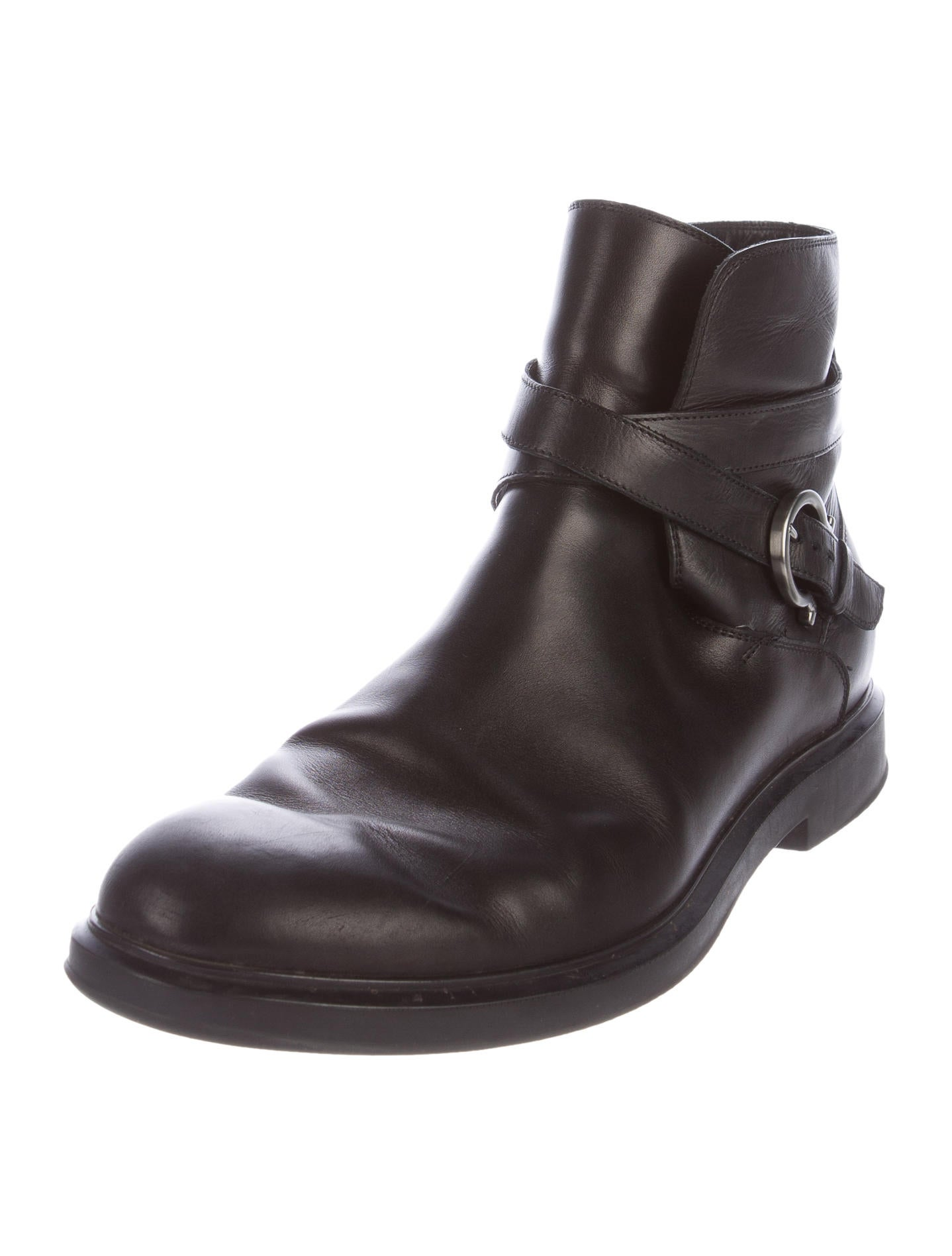 salvatore ferragamo leather combat boots shoes