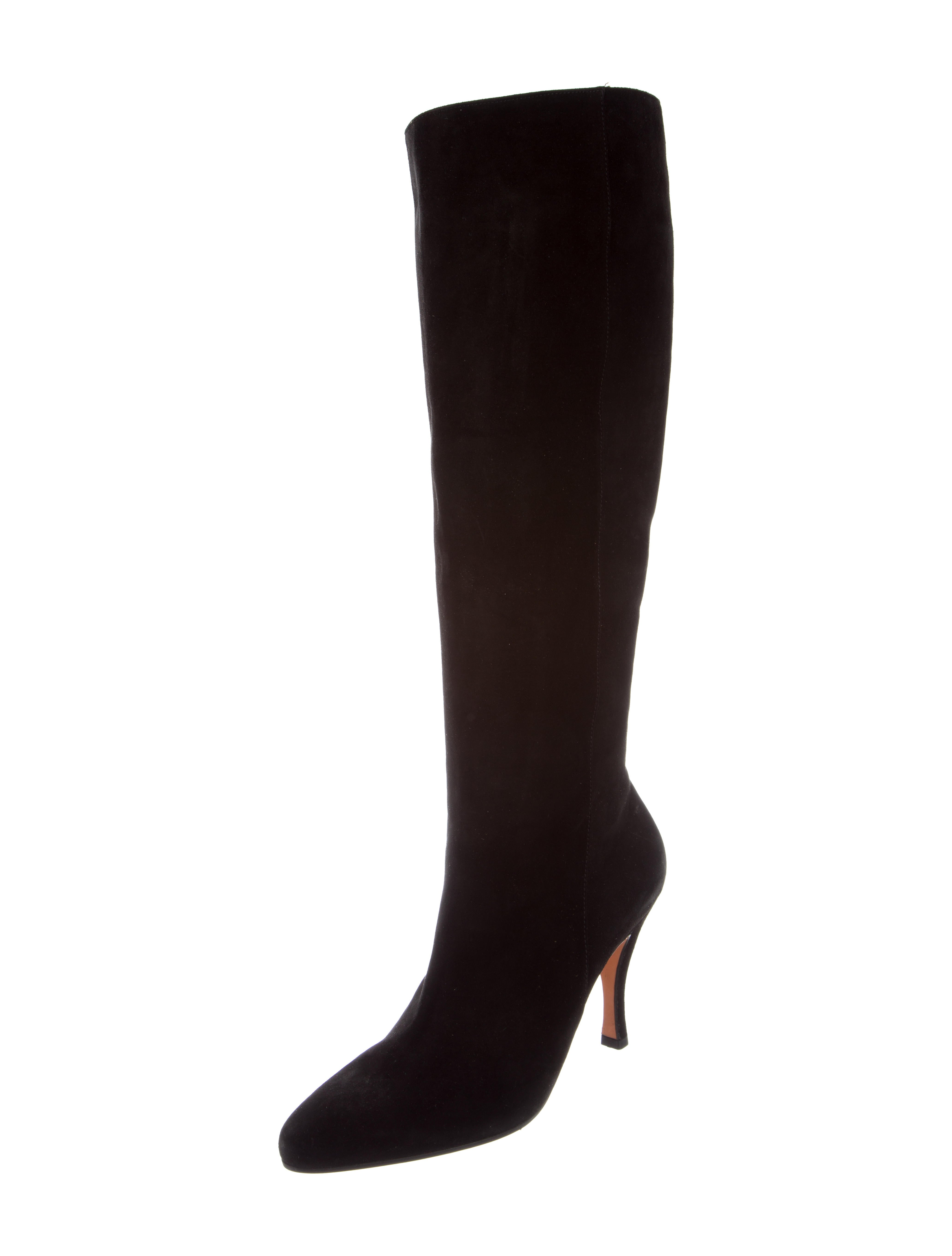 salvatore ferragamo knee high pointed toe boots shoes