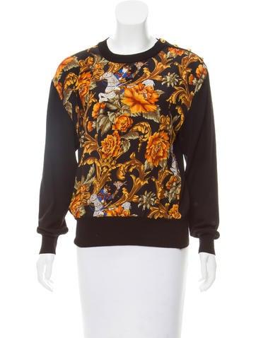 Salvatore Ferragamo Silk-Paneled Wool Sweater None
