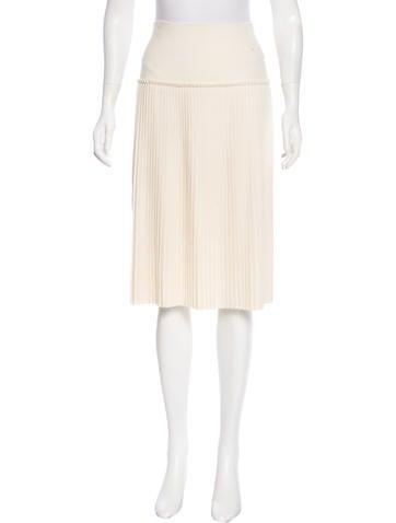 Salvatore Ferragamo Pleated Knit Skirt None