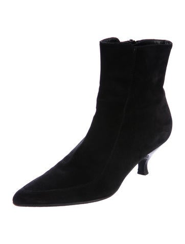 discount top quality buy cheap comfortable Salvatore Ferragamo Suede Pointed-Toe Booties ebay for sale free shipping 2014 find great for sale soeO7JtH