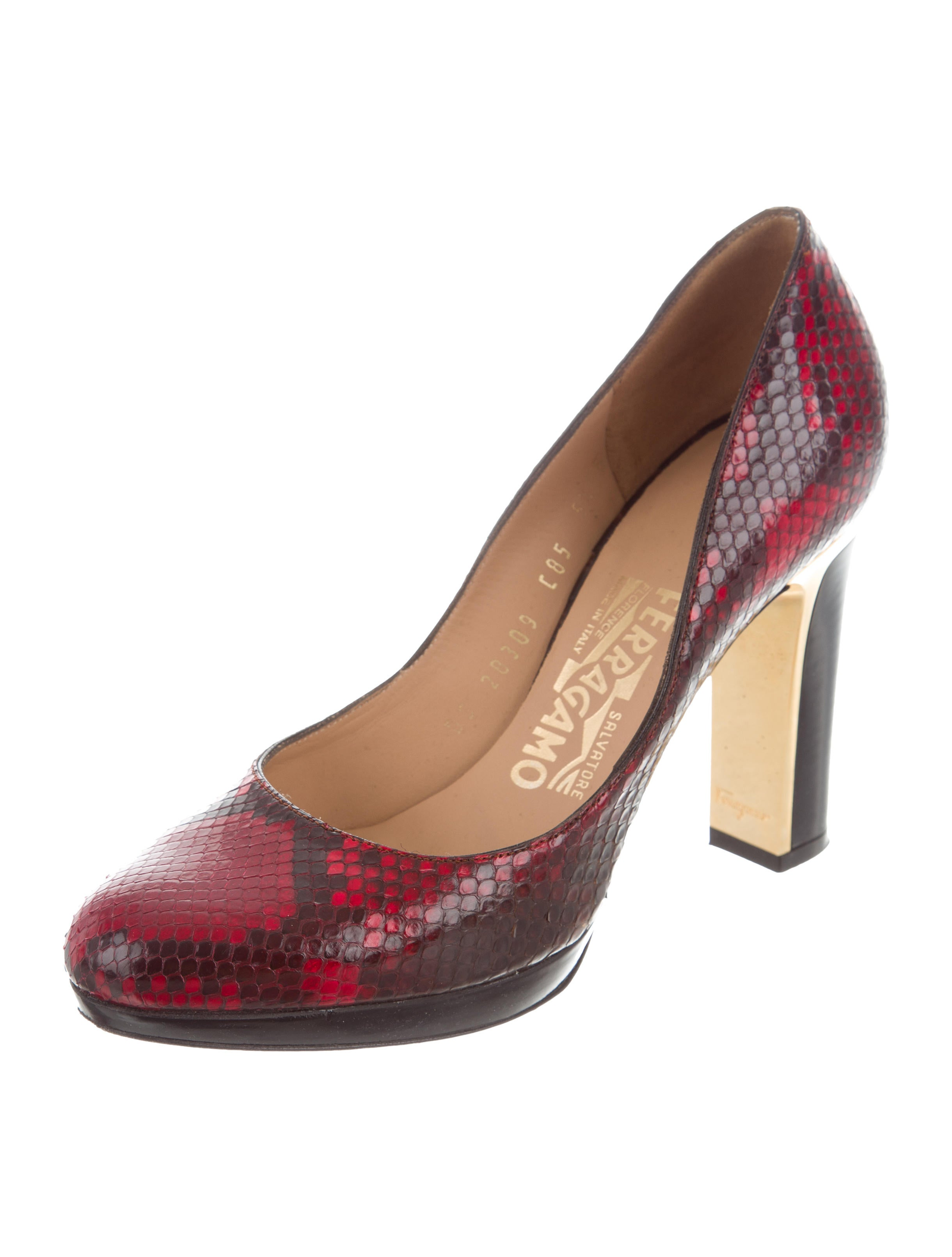 Salvatore Ferragamo Python-Trimmed Round-Toe Pumps free shipping brand new unisex clearance cheap outlet marketable sale original collections cheap online WL8LB0
