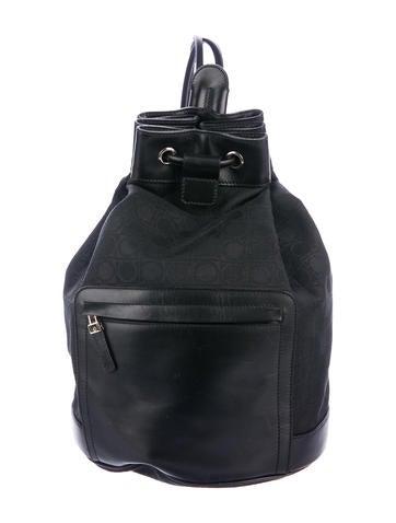 Salvatore Ferragamo Leather-Trimmed Gancio Canvas Backpack None