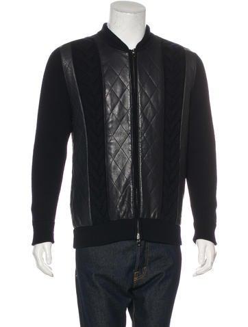 Salvatore Ferragamo Leather-Paneled Virgin Wool Jacket None
