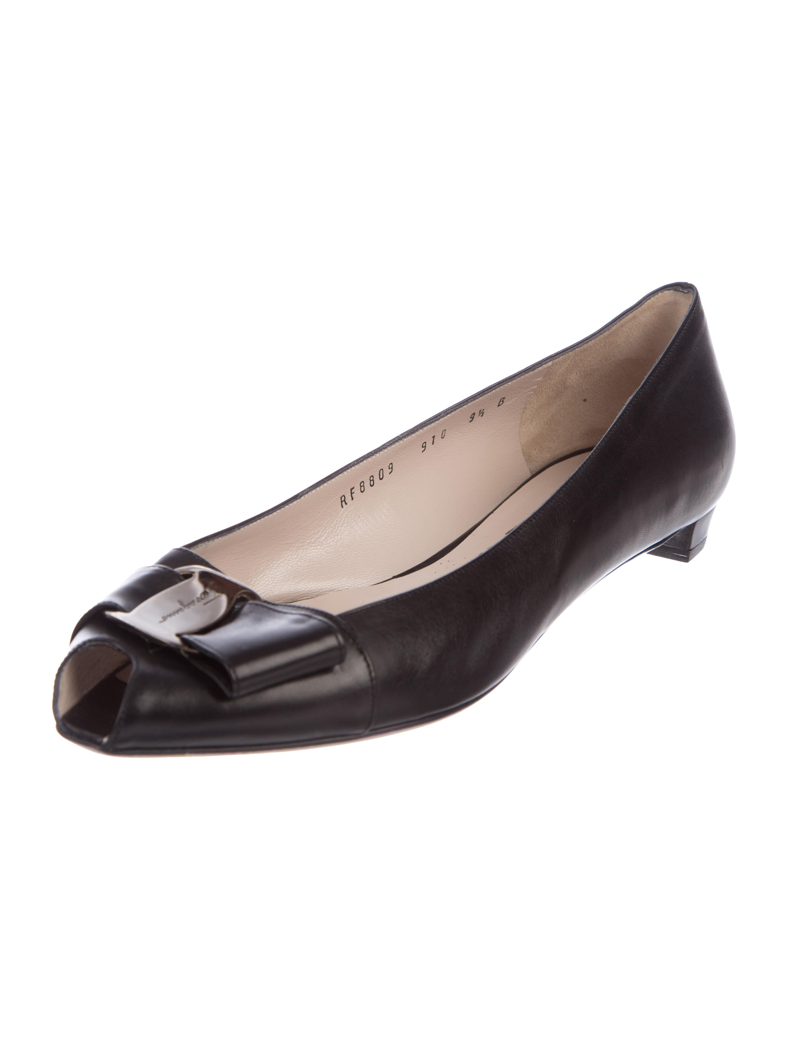 classic cheap online buy cheap 2014 unisex Salvatore Ferragamo Maxine Peep-Toe Flats w/ Tags 1eczQA