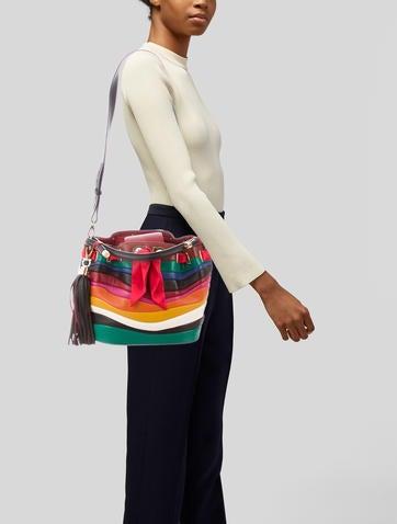 800bd48c3e Salvatore Ferragamo 2016 Solaria Rainbow-Stripe Tassel Bucket Bag -  Handbags - SAL79481