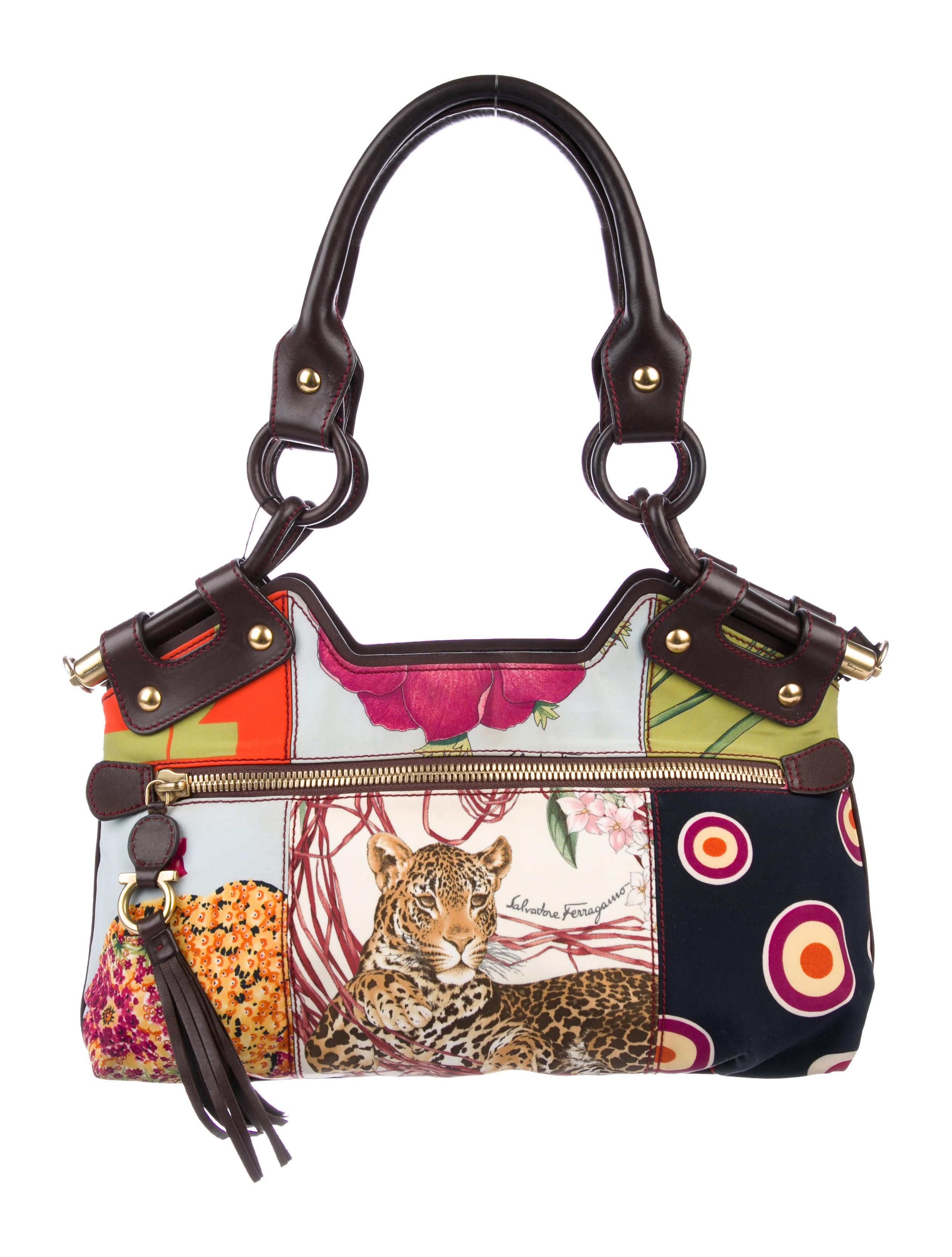 676ee50efd08 Salvatore Ferragamo Leather-Trimmed Printed Shoulder Bag - Handbags ...