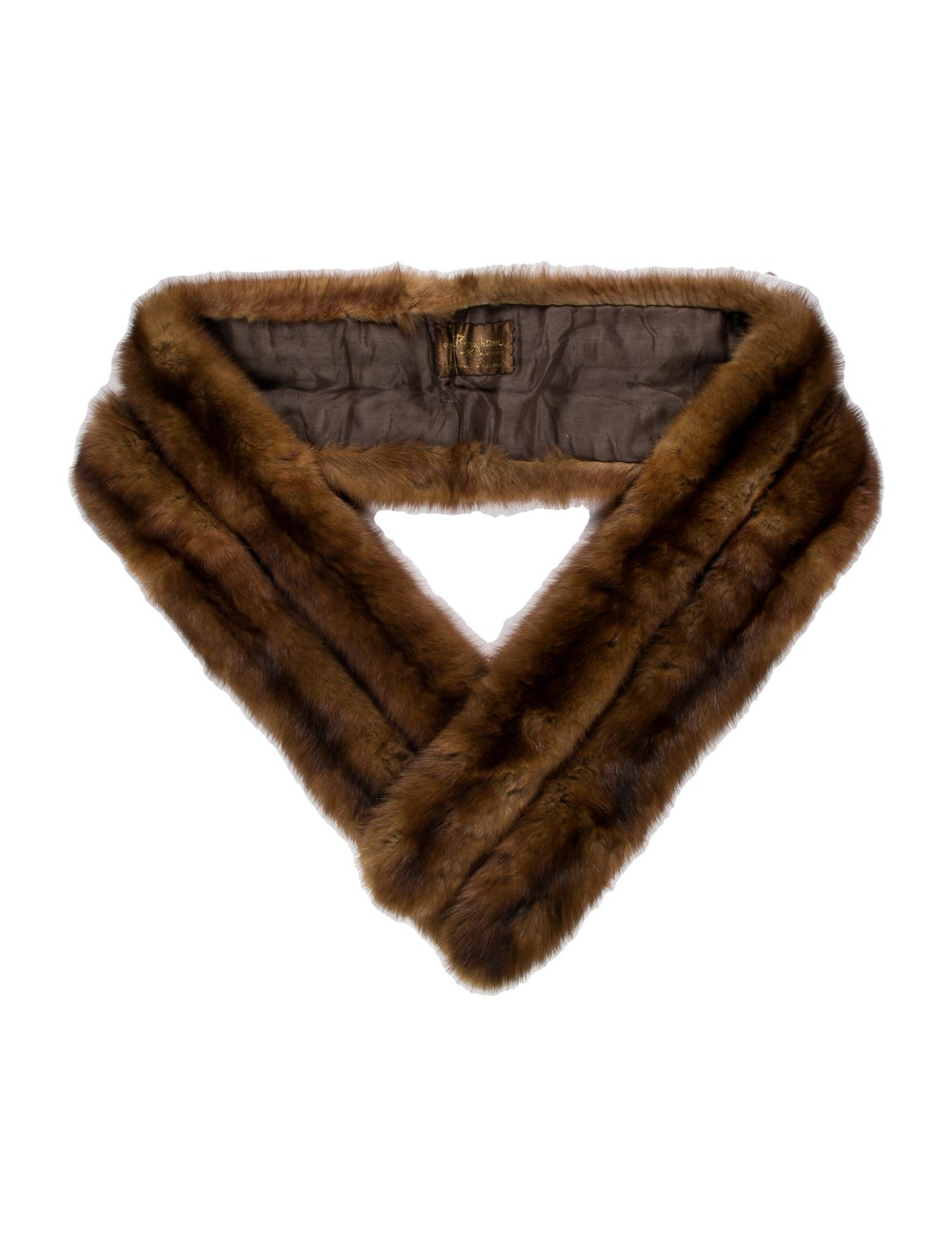Scarf Fur Stole Brown - image 1