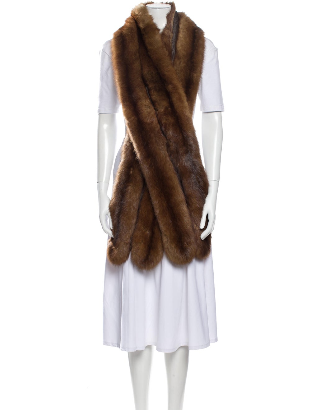 Scarf Fur Stole Brown - image 3
