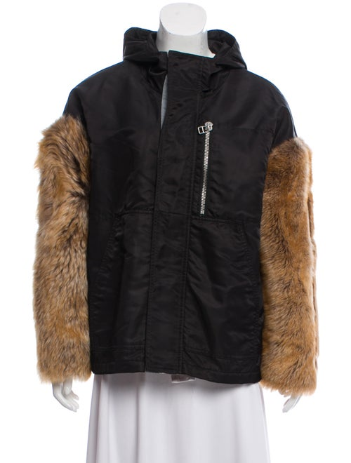 Sandy Liang Faux Fur-Trimmed Casual Jacket Black