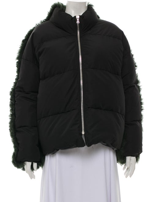Sandy Liang Shearling-Trimmed Puffer Jacket Black