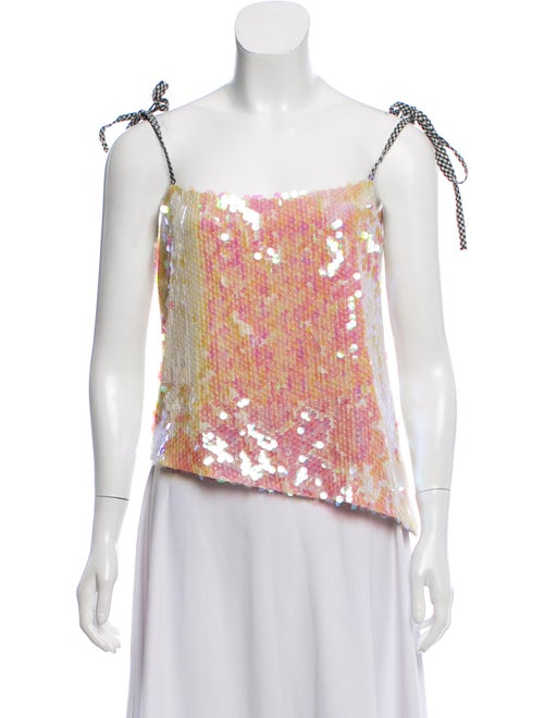 Sandy Liang Square Neckline Sleeveless Top Pink
