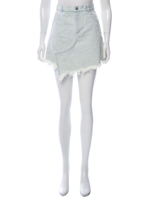 Sandy Liang Mini Fringe-Accented Skirt blue