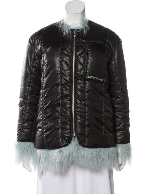 Sandy Liang Fur-Trimmed Zip-Up Jacket Black