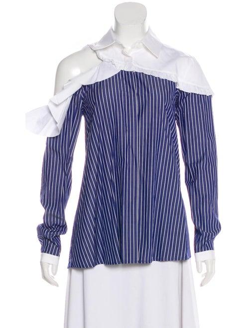 Sandy Liang Striped Long Sleeve Blouse Blue