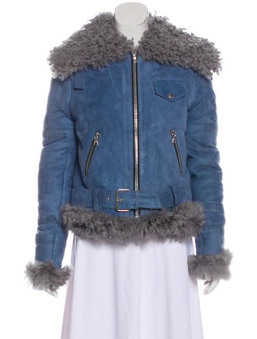 Sandy Liang Shearling Jacket Blue
