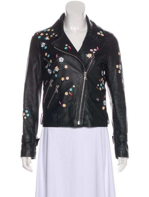 Sandy Liang Leather Zip-Up Jacket Black