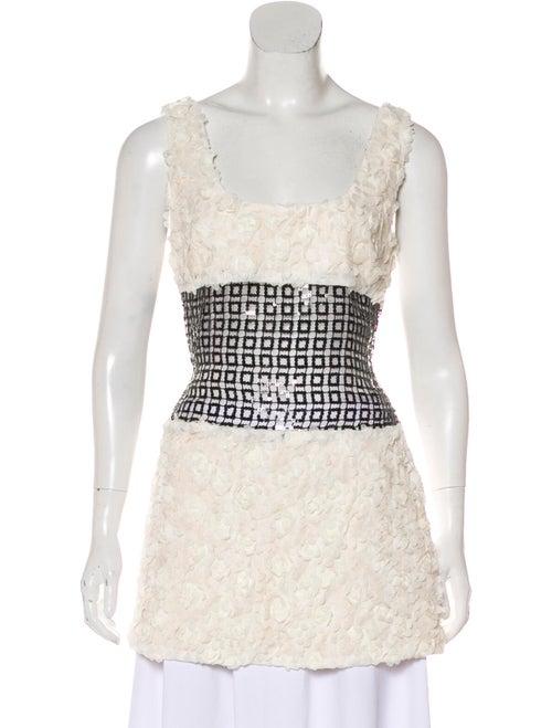 Sandy Liang Square Neckline Sleeveless Tunic White