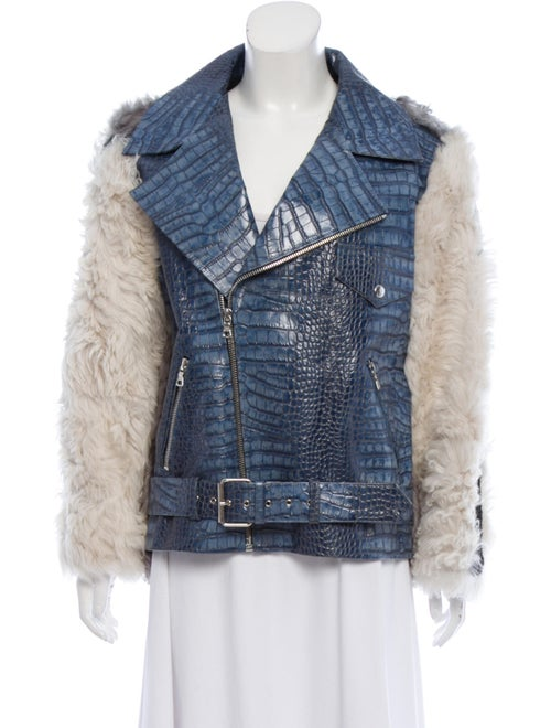 Sandy Liang Embossed Leather Jacket white
