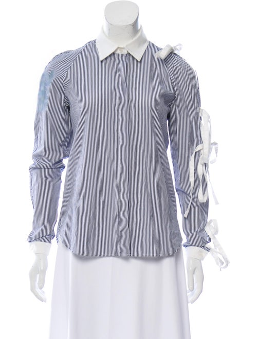 Sandy Liang Striped Long Sleeve Button-Up Top Blue
