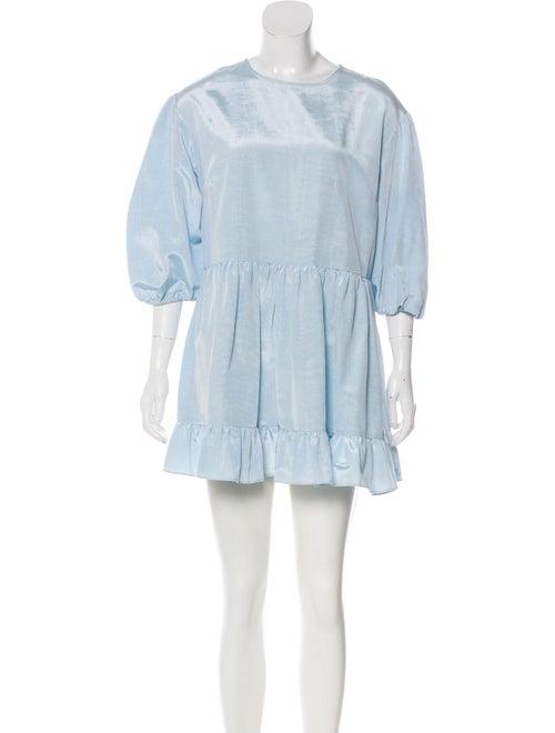 Sandy Liang Crew Neck Mini Dress Blue