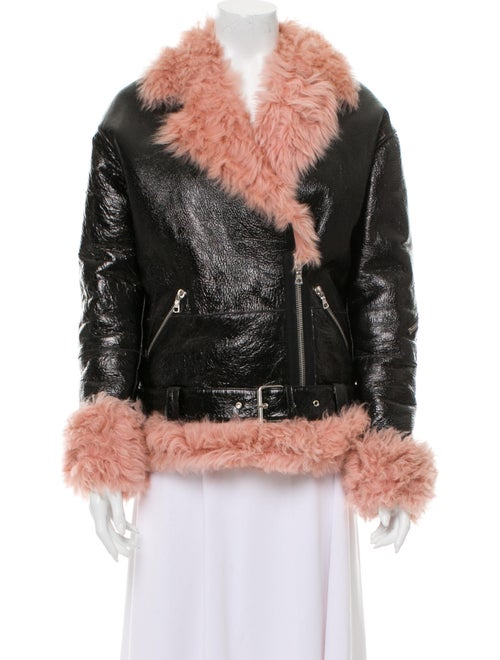 Sandy Liang Shearling Belted Jacket Black