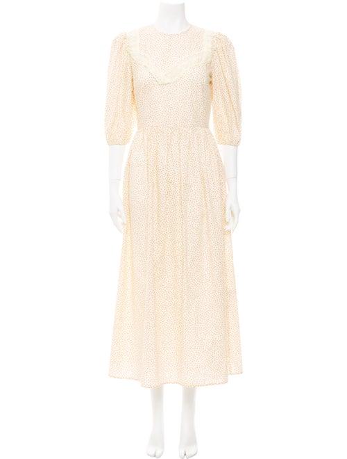 Sandy Liang Printed Long Dress Yellow