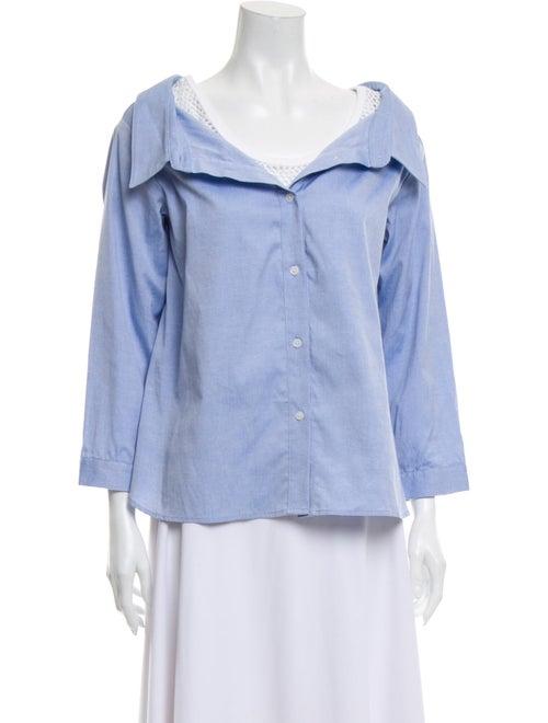 Sandy Liang Three-Quarter Sleeve Button-Up Top Blu