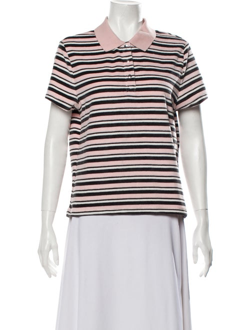 Sandy Liang Striped Short Sleeve Polo Pink